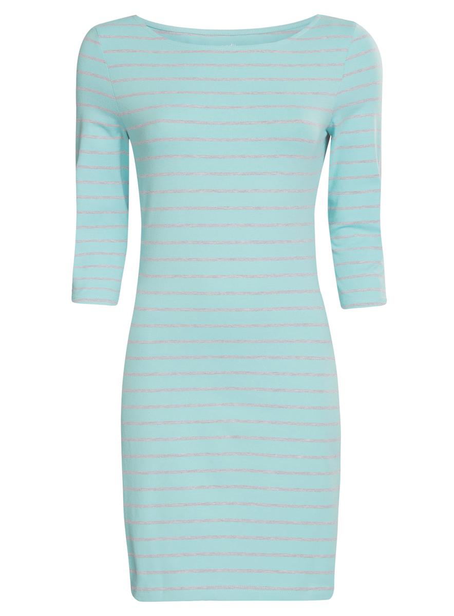 Платье oodji Ultra, цвет: бирюзовый, светло-серый. 14001071-2B/46148/7320S. Размер M (46)14001071-2B/46148/7320SСтильное платье oodji Ultra, выполненное из эластичного хлопка, отлично дополнит ваш гардероб. Модель мини-длины с круглым вырезом лодочкой и рукавами 3/4 оформлена принтом в полоску.