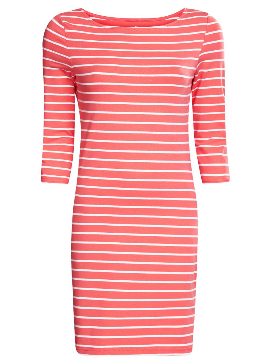 Платье oodji Ultra, цвет: коралловый, белый. 14001071-2B/46148/4310S. Размер XXS (40)14001071-2B/46148/4310SСтильное платье oodji Ultra, выполненное из эластичного хлопка, отлично дополнит ваш гардероб. Модель мини-длины с круглым вырезом лодочкой и рукавами 3/4 оформлена принтом в полоску.