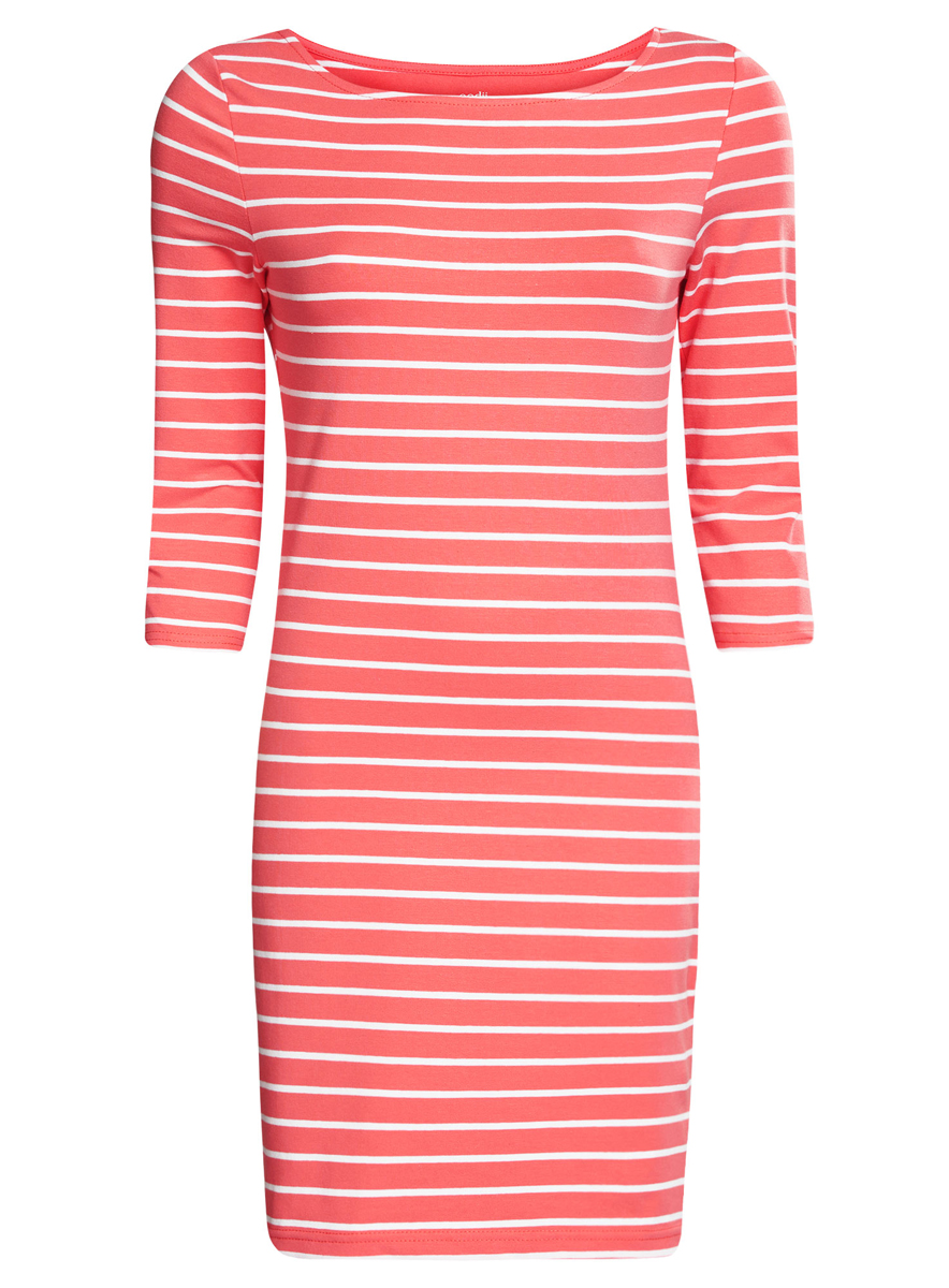 Платье oodji Ultra, цвет: коралловый, белый. 14001071-2B/46148/4310S. Размер M (46) платье oodji ultra цвет темный хаки оранжевый 14001071 2b 46148 6855s размер xl 50
