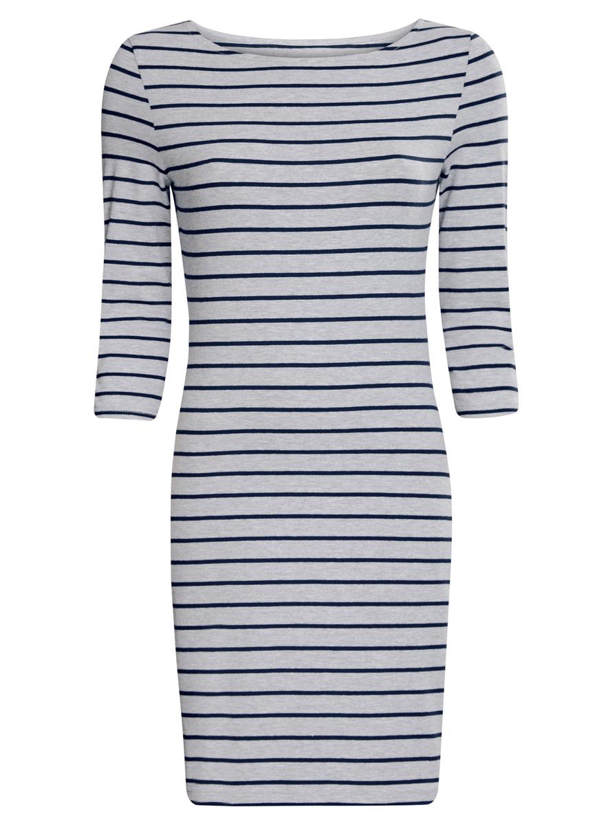 Платье oodji Ultra, цвет: серый, темно-синий. 14001071-2B/46148/2379S. Размер XXS (40)14001071-2B/46148/2379SСтильное платье oodji Ultra, выполненное из эластичного хлопка, отлично дополнит ваш гардероб. Модель мини-длины с круглым вырезом лодочкой и рукавами 3/4 оформлена принтом в полоску.