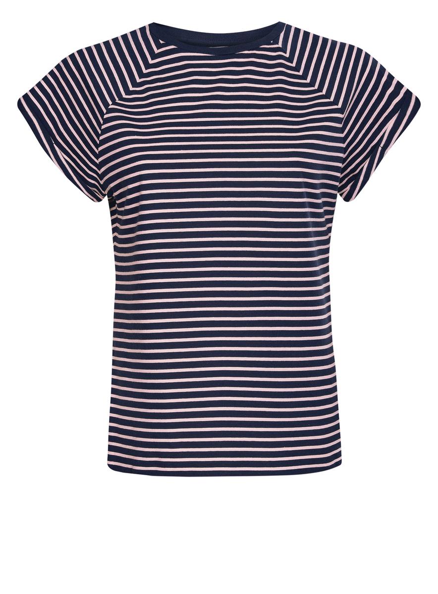 Футболка женская oodji Ultra, цвет: темно-синий, светло-розовый. 14707001-4B/46154/7940S. Размер XS (42)14707001-4B/46154/7940SЖенская футболка выполнена из хлопка. Модель с круглым вырезом горловины и короткими рукавами реглан, дополненными отворотом.