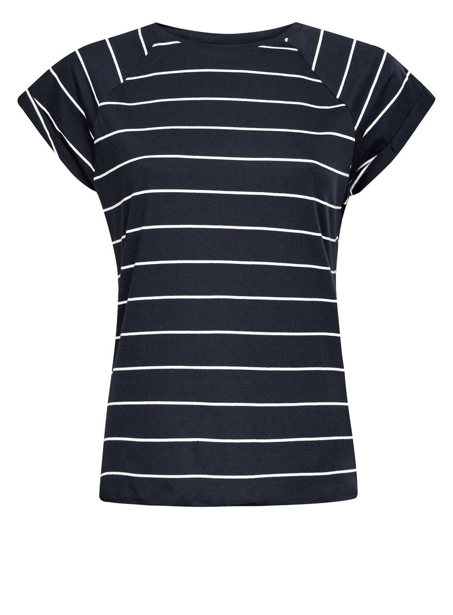 Футболка женская oodji Ultra, цвет: темно-синий, белый. 14707001-4B/46154/7912S. Размер M (46)14707001-4B/46154/7912SЖенская футболка выполнена из хлопка. Модель с круглым вырезом горловины и короткими рукавами реглан, дополненными отворотом.