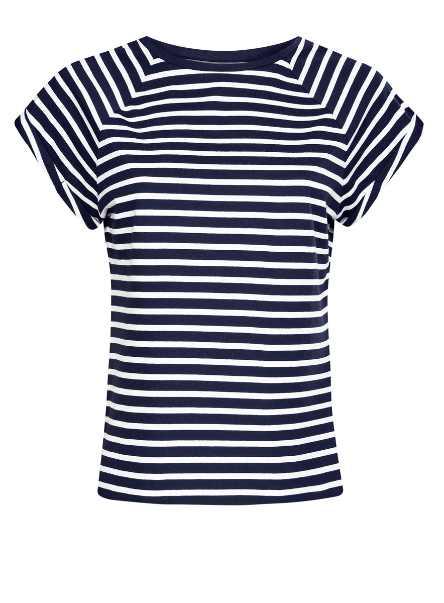 Футболка женская oodji Ultra, цвет: темно-синий, белый. 14707001-4B/46154/7910S. Размер XS (42)14707001-4B/46154/7910SЖенская футболка выполнена из хлопка. Модель с круглым вырезом горловины и короткими рукавами реглан, дополненными отворотом.