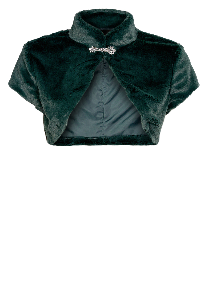 Болеро женское oodji Ultra, цвет: темно-зеленый. 11J00001/45031/6900N. Размер 36 (42-170)11J00001/45031/6900NОригинальное болеро изготовлено из мягкого плюшевого материала на гладкой подкладке.Модель с воротником-стойкой и короткими рукавами застегивается на оригинальный крючок.Болеро - отличное дополнение к кофточке или платью.