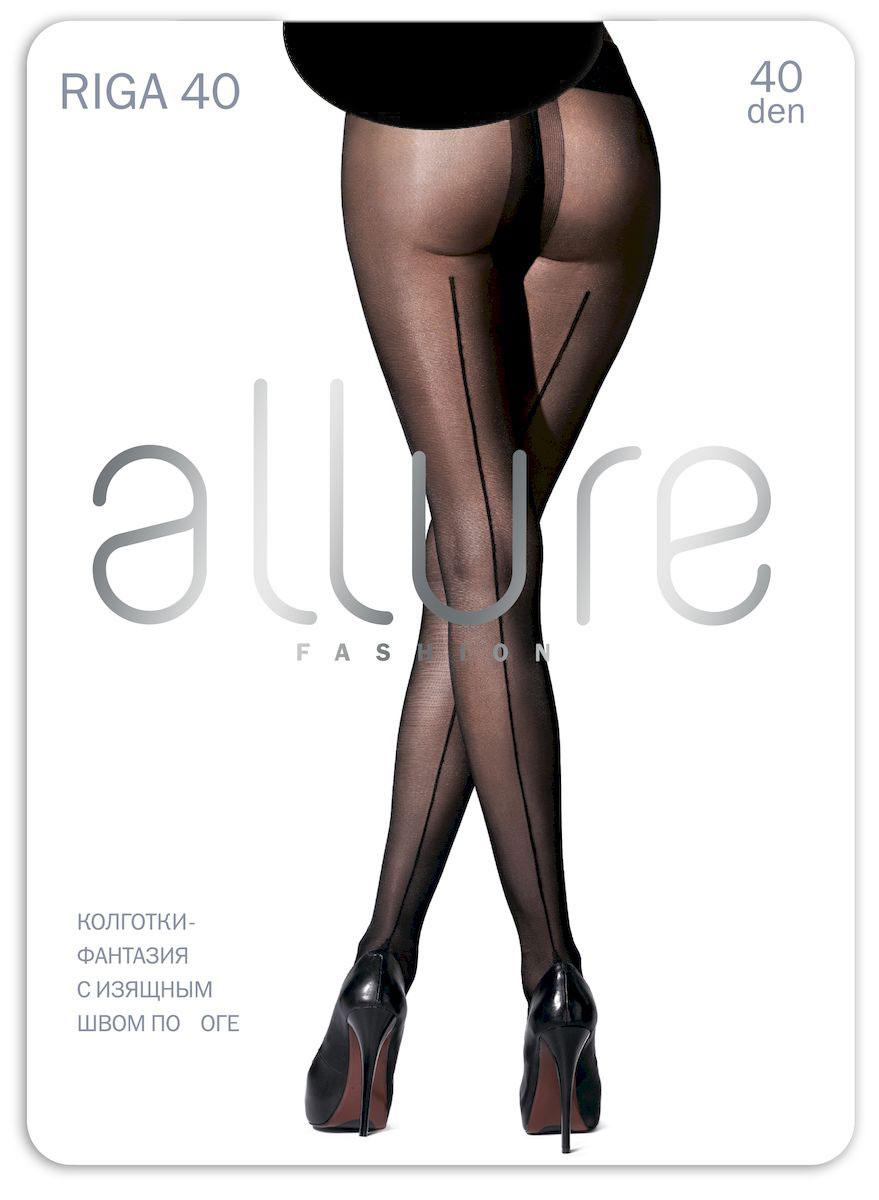 Колготки Allure Riga 40, цвет: Nero (черный). Размер 2Riga 40Изысканные колготки с изящным швом сзади по всей длине. Шелковистый эффект изделия достигается за счет оплетенной эластановой нити. Плоские швы, укрепленный носок и хлопковая ластовица.