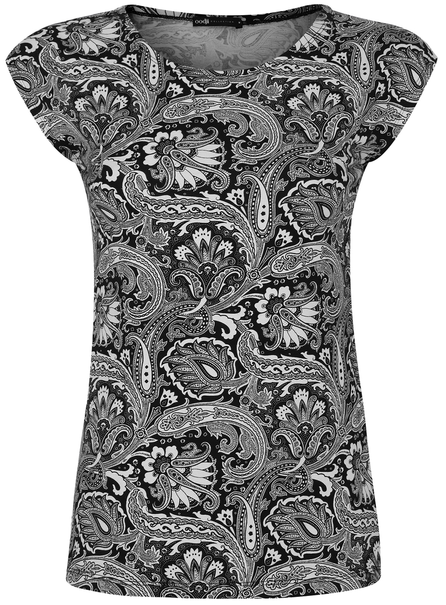 Футболка женская oodji Collection, цвет: черный, кремовый. 24708006/16651/2930E. Размер XS (42) футболка женская oodji collection цвет белый 24711002 46840 1000n размер xs 42