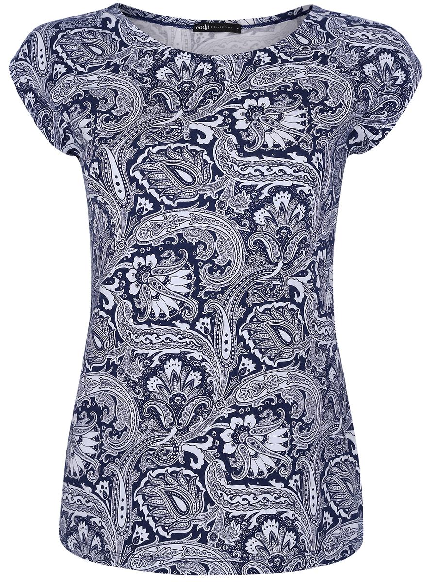 Футболка женская oodji Collection, цвет: темно-синий, белый. 24708006/16651/7530E. Размер XS (42) футболка женская oodji collection цвет белый 24711002 46840 1000n размер xs 42
