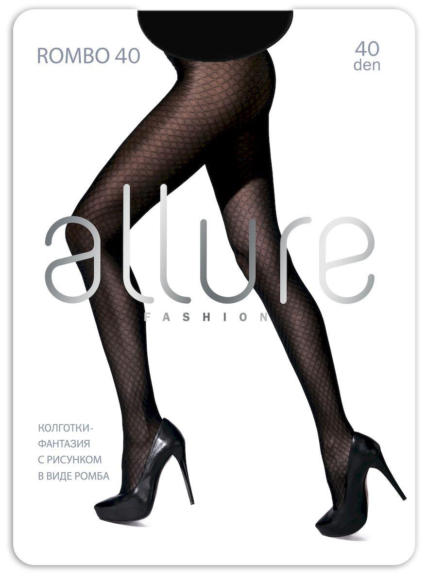 Колготки Allure Rombo 40, цвет: Nero (черный). Размер 2Rombo 40Модные, плотные, однородные по всей длине колготки, с ромбовидным рисунком имитирующим сетку. Плоские швы, укрепленный носок и хлопковая ластовица.