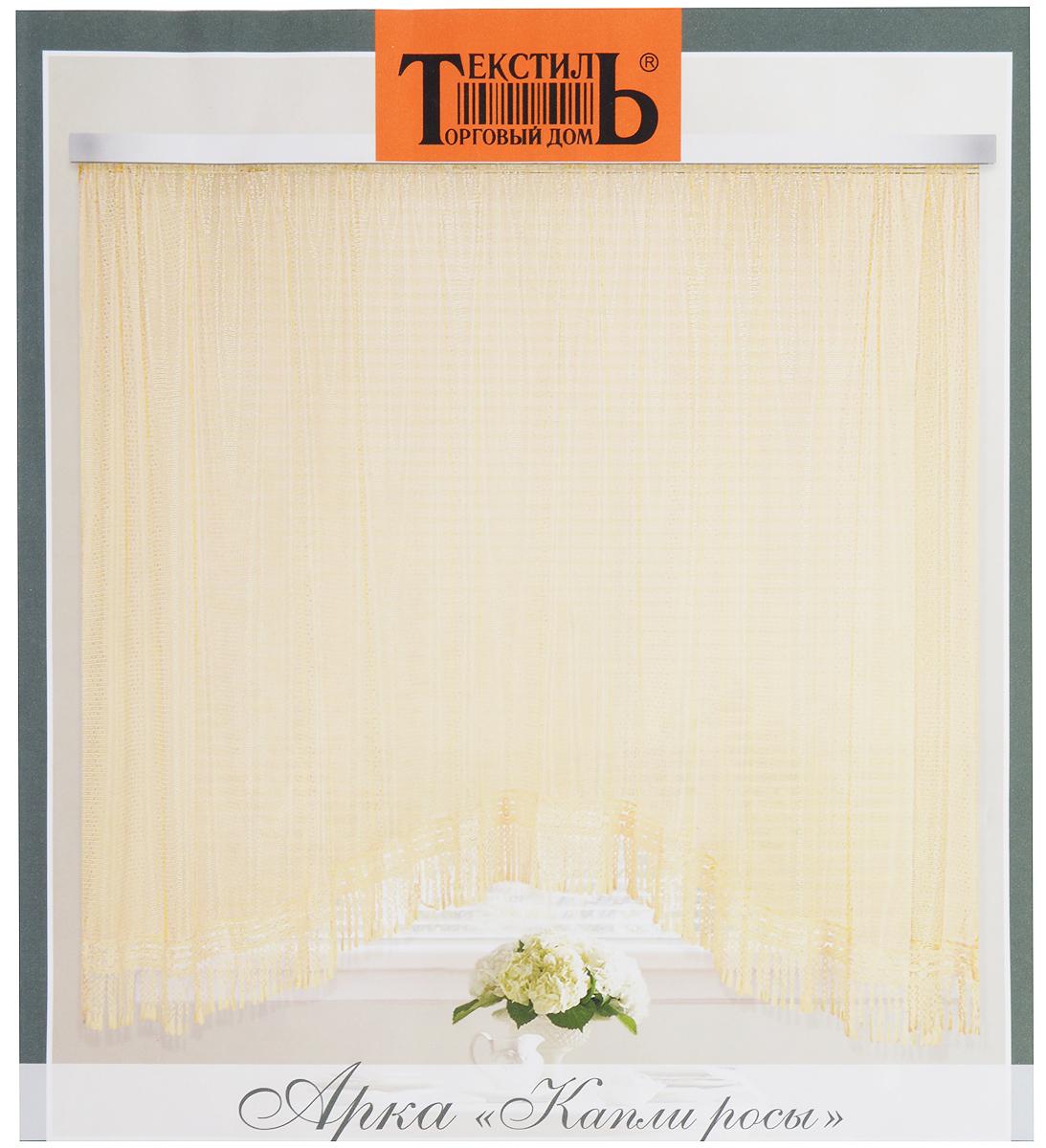 Штора-арка ТД Текстиль Капли росы, на ленте, цвет: желтый, высота 165 см82650_желтыйШтора-арка ТД Текстиль Капли росы великолепно украситлюбое окно. Штора выполнена из качественного сетчатогополиэстера и декорирована бахромой.Полупрозрачная ткань, оригинальный дизайн и приятнаяцветовая гамма привлекут к себе внимание и позволят штореорганично вписаться в интерьер помещения.Штора крепится на карниз при помощи шторной ленты, котораяпоможет красиво и равномерно задрапировать верх. Изделиеотлично подходит для кухни, столовой, спальни.