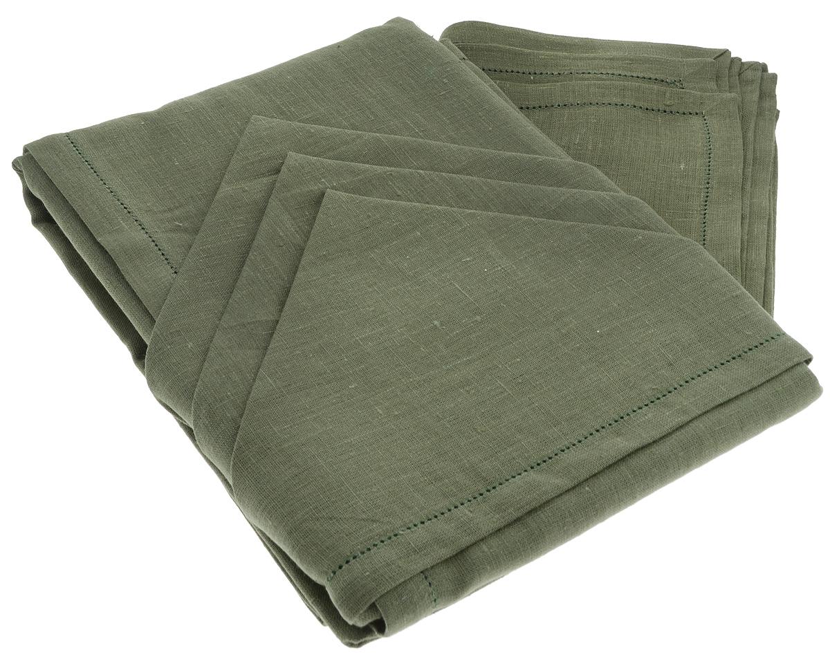 Комплект столовый Гаврилов-Ямский Лен, цвет: темно-зеленый, 13 предметов пододеяльник гаврилов ямский лен цвет белый синий 175 х 220 см 2348
