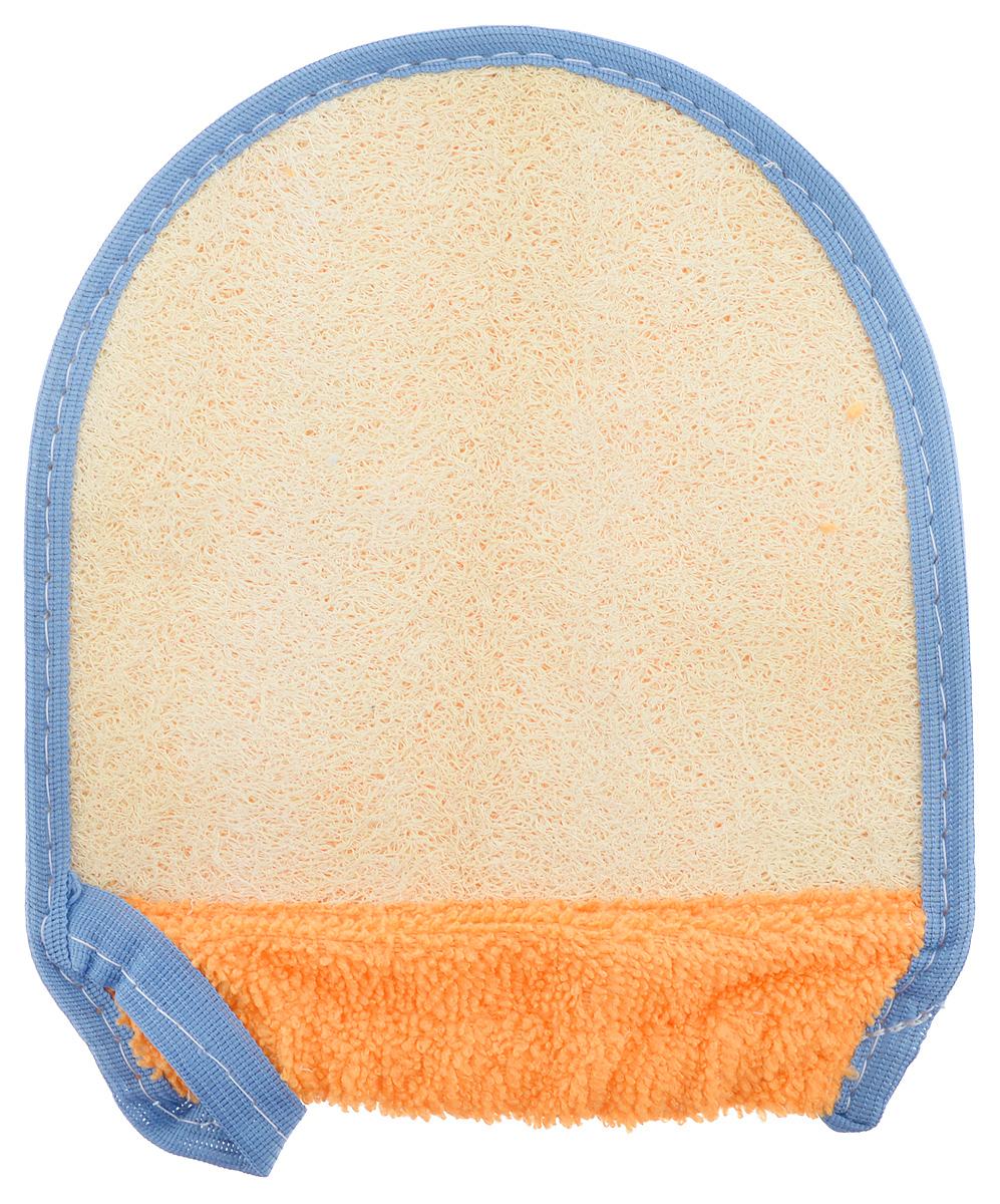 Мочалка-рукавица для тела Текос, с манжетой, натуральная, цвет: оранжевый, синий, бежевый4.12_оранжевый, синийМочалка-рукавица Текос изготовлена из хлопка. Предназначена для самого нежного мытья. Основа рукавицы состоит из натурального продукта - Люфа. Губка из высушенной волокнистой массы плодов этого южного растения оказывает на кожу благоприятный оздоровительный эффект. Люфа находится в спрессованном состоянии, поэтому перед первым применением размочите ее в горячей воде. Можно использовать как с мылом, так и без него.Размер мочалки-рукавицы: 19 х 15 см.