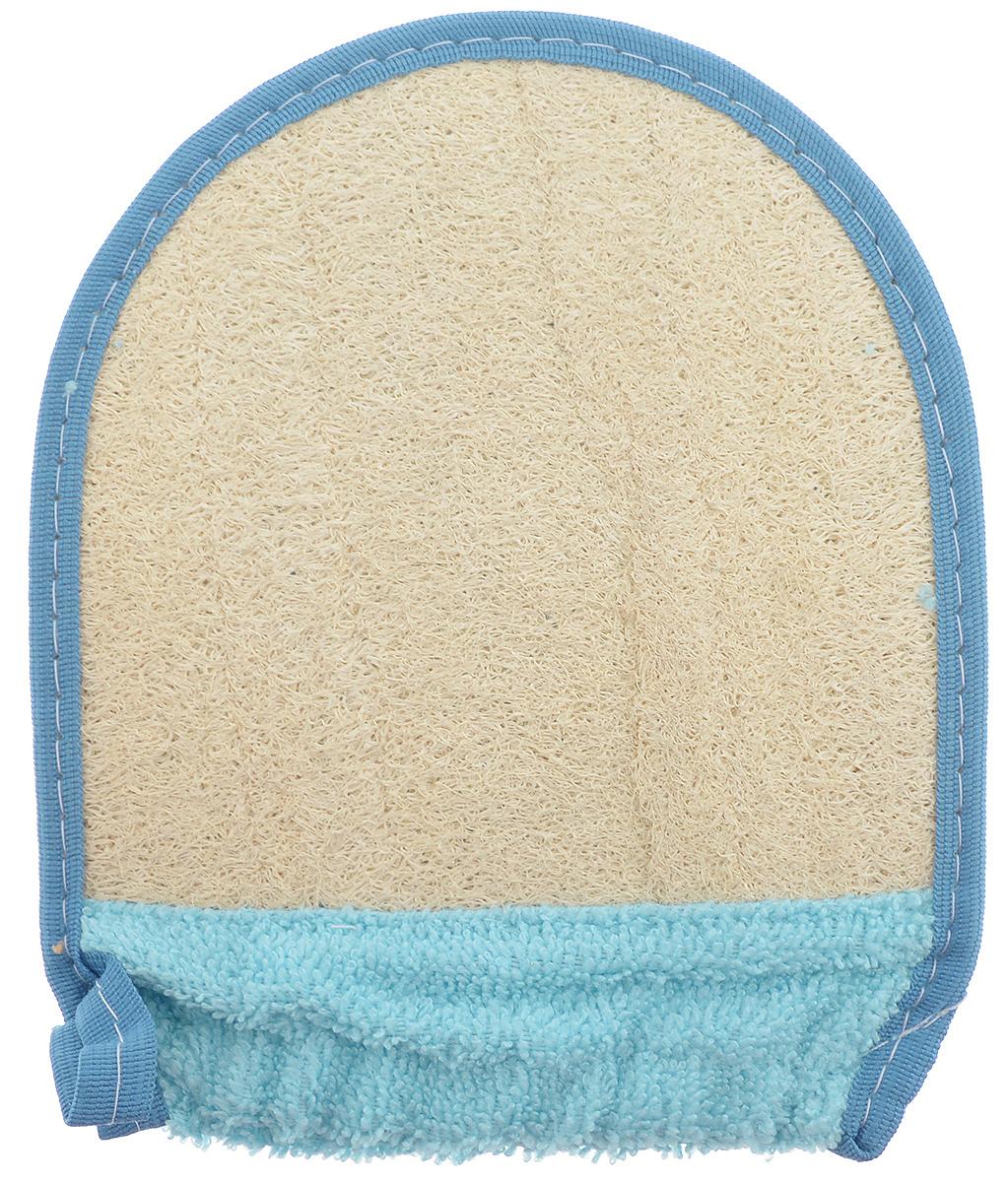 Мочалка-рукавица для тела Текос, с манжетой, натуральная, цвет: голубой, синий, бежевый4.12_голубой, синийМочалка-рукавица Текос изготовлена из хлопка. Предназначена для самого нежного мытья. Основа рукавицы состоит из натурального продукта - Люфа. Губка из высушенной волокнистой массы плодов этого южного растения оказывает на кожу благоприятный оздоровительный эффект. Люфа находится в спрессованном состоянии, поэтому перед первым применением размочите ее в горячей воде. Можно использовать как с мылом, так и без него.Размер мочалки-рукавицы: 19 х 15 см.