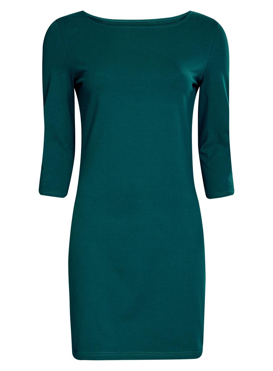 Платье oodji Ultra, цвет: темно-зеленый. 14001071-2B/46148/6E00N. Размер XXS (40)14001071-2B/46148/6E00NСтильное платье oodji, выполненное из хлопка с добавлением эластана, отлично дополнит ваш гардероб. Модель длины мини с круглым вырезом горловины и рукавами 3/4.