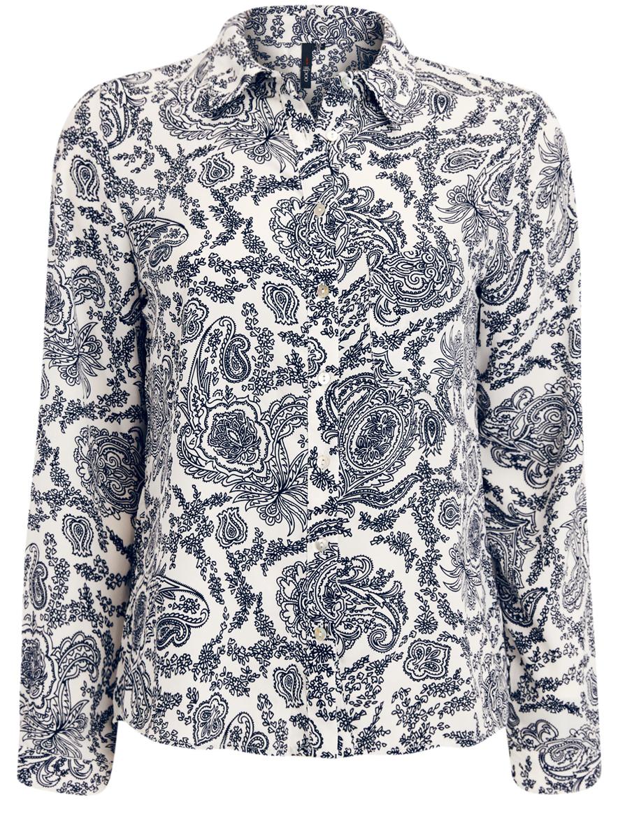 Блузка женская oodji Ultra, цвет: белый, темно-синий. 11400394-5/36215/1279E. Размер 42 (48-170)11400394-5/36215/1279EСтильная блузка oodji Ultra с классическим отложным воротничком и длинными рукавами оформлена оригинальным принтом. На груди расположен накладной кармашек. Модель по всей длине застегивается на пуговицы.