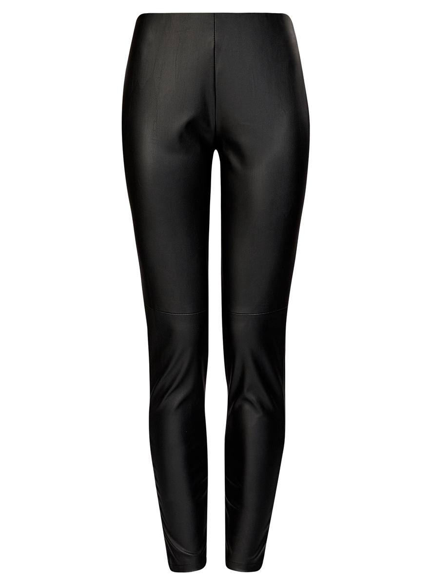 Брюки женские oodji Ultra, цвет: черный. 18G07001/45085/2900N. Размер 36 (42-170)18G07001/45085/2900NСтильные женские брюки oodji Ultra выполнены из искусственной кожи. Модель на талии дополнена широкой эластичной резинкой, сбоку потайной застежкой-молнией. Брюки-скинни со средней линией талии. Низ брючин регулируется по ширине за счет молний.