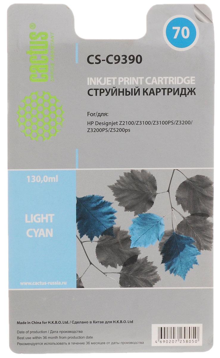 Cactus CS-C9390 №70, Light Cyan картридж струйный для HP DeskJet Z3100 картридж hp cb323he 178xl cyan для c5383 c6383 b8553 d5463