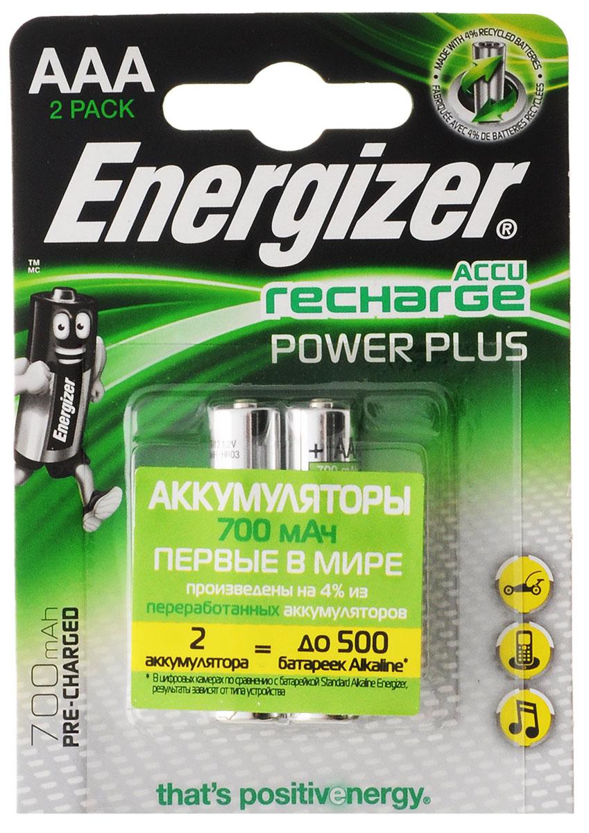 Аккумулятор Energizer Recharge Power Plus, тип AAA, 700 mAh, 2 шт зарядное устройство duracell cef14 аккумуляторы 2 х aa2500 mah 2 х aaa850 mah