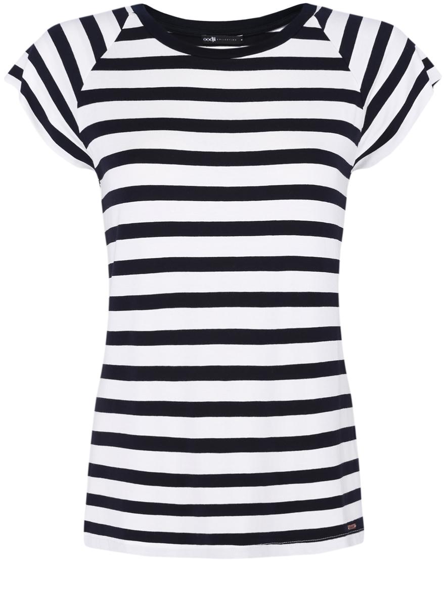Футболка женская oodji Collection, цвет: белый, черный. 24707001-3/14675/1229S. Размер XS (42) футболка в полоску женская
