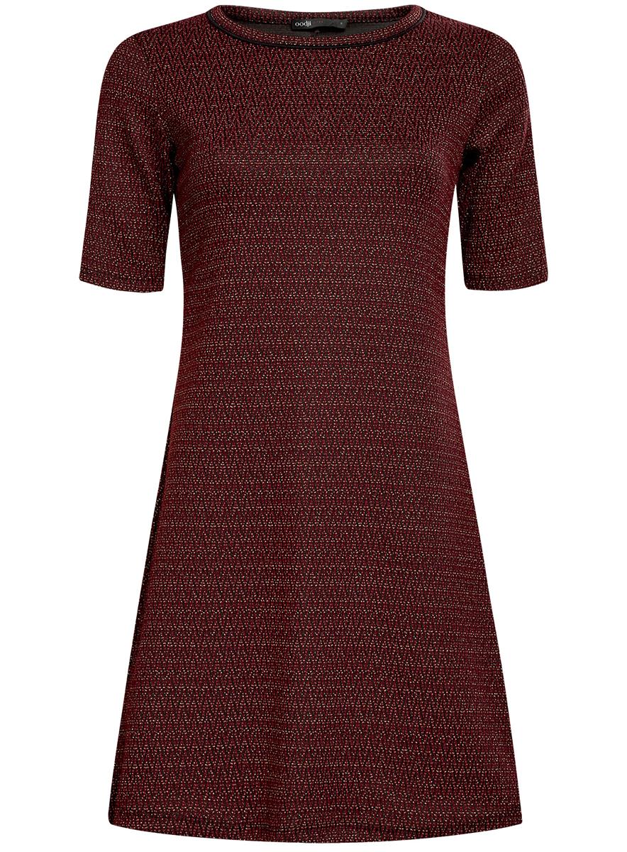 Платье oodji Ultra, цвет: коричнево-красный, черный. 14000158/46233/4929J. Размер XXS (40)14000158/46233/4929JСтильное платье oodji Ultra, выполненное из качественного комбинированного материала, отлично дополнит ваш гардероб. Модель-миди с круглым вырезом горловины и короткими рукавами оформлено контрастным принтом и дополнено люрексом.