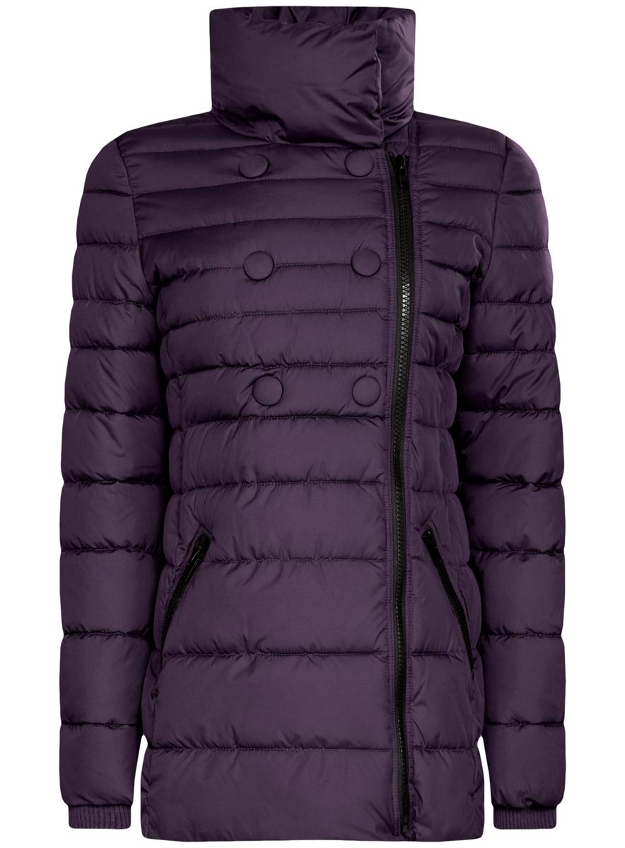 Куртка женская oodji Ultra, цвет: темно-фиолетовый. 10201032-2/32754/8800N. Размер 44 (50-170)10201032-2/32754/8800NЖенская куртка oodji Ultra выполнена из 100% полиэстера. В качестве подкладки и утеплителя также используется полиэстер. Модель с воротником-стойкой застегивается на асимметричную застежку-молнию и дополнительно на кнопки. Низ рукавов дополнен внутренними эластичными манжетами. Спереди расположено два прорезных кармана на застежках-молниях.