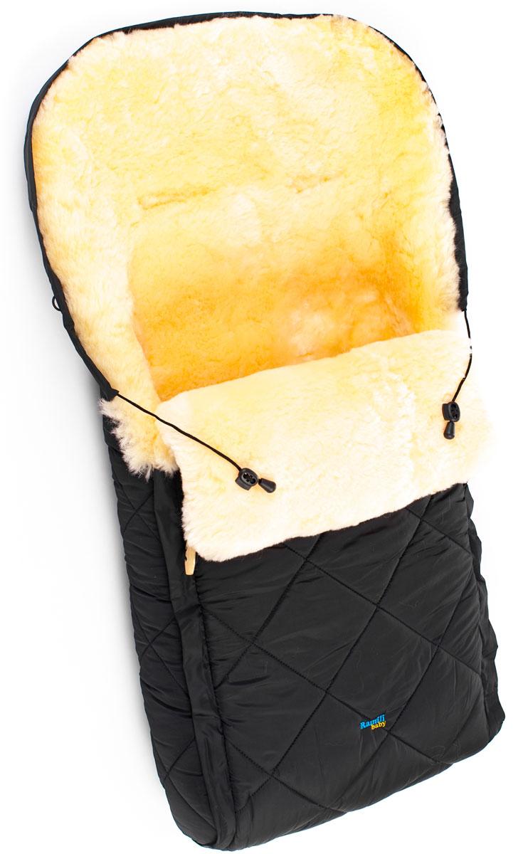 Конверт в коляску Ramili Baby Classic, цвет: черный. CL10BLACK. Размер универсальныйCL10BLACKДетский меховой конверт в коляску Ramili Baby Classic изготовлен из прочной микрофибры и высококачественной натуральной овчины.Конверт оснащен одной молнией и раскладывается на два автономных коврика. Верхняя часть фиксируется при помощи деревянных пуговиц. Овчина специальной выделки, в которой отсутствуют вредные вещества и тяжелые металлы, гипоаллергенна, отлично сохраняет тепло, обеспечивает циркуляцию воздуха внутри изделия. Детский конверт может использоваться с самого рождения. Конверт имеет 6 прорезей для ремня.Верхняя часть конверта собирается в капюшон при помощи шнурка-кулиски. Конверт расширен области головы, чем обеспечивается дополнительная защита от холода.