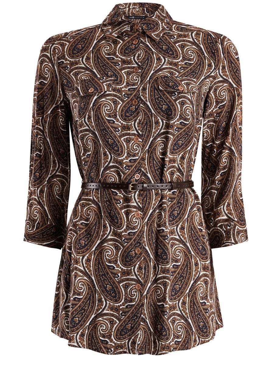 Купить Блузка женская oodji Collection, цвет: белый, коричневый, темно-синий. 21412057-1/17466/1233E. Размер 44 (50-170)