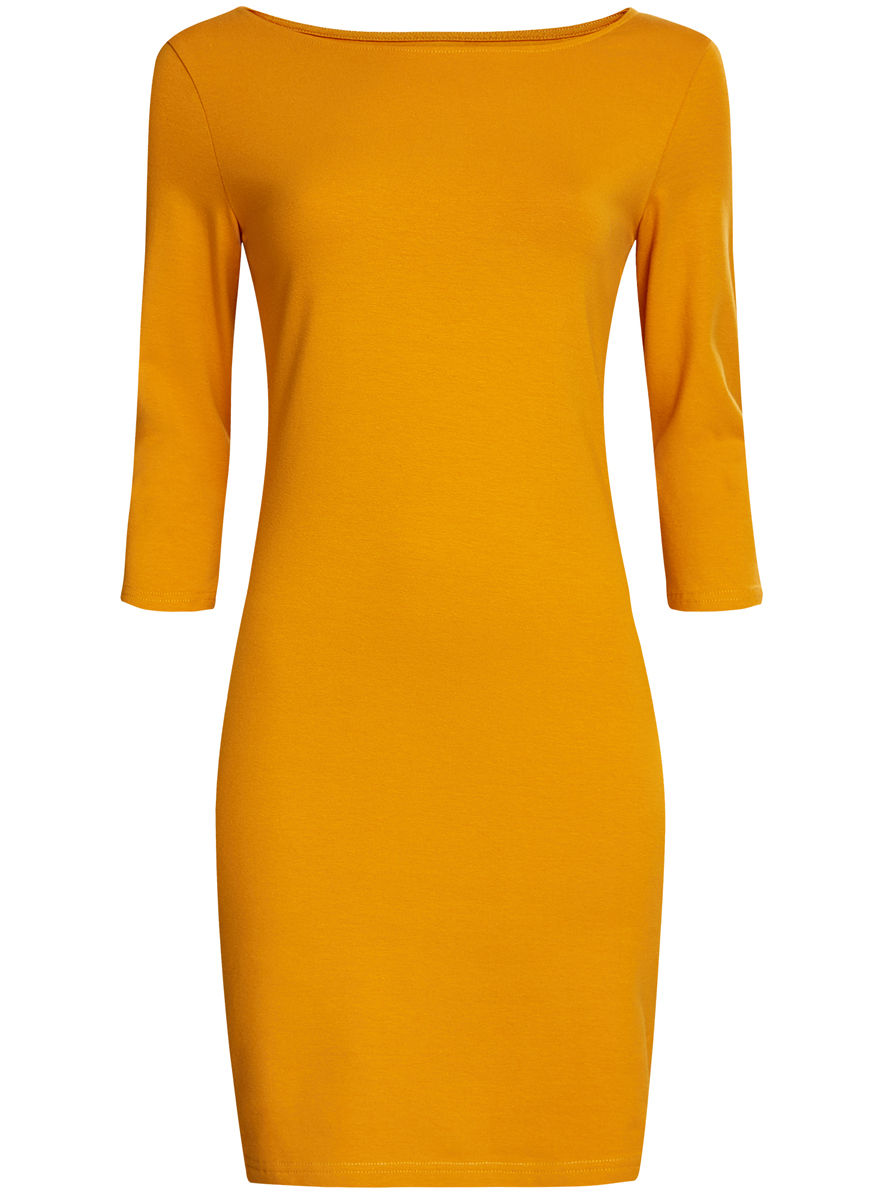 Платье oodji Ultra, цвет: ярко-желтый. 14001071-2B/46148/5200N. Размер XXS (40)14001071-2B/46148/5200NСтильное платье oodji, выполненное из хлопка с добавлением эластана, отлично дополнит ваш гардероб. Модель длины мини с круглым вырезом горловины и рукавами 3/4.