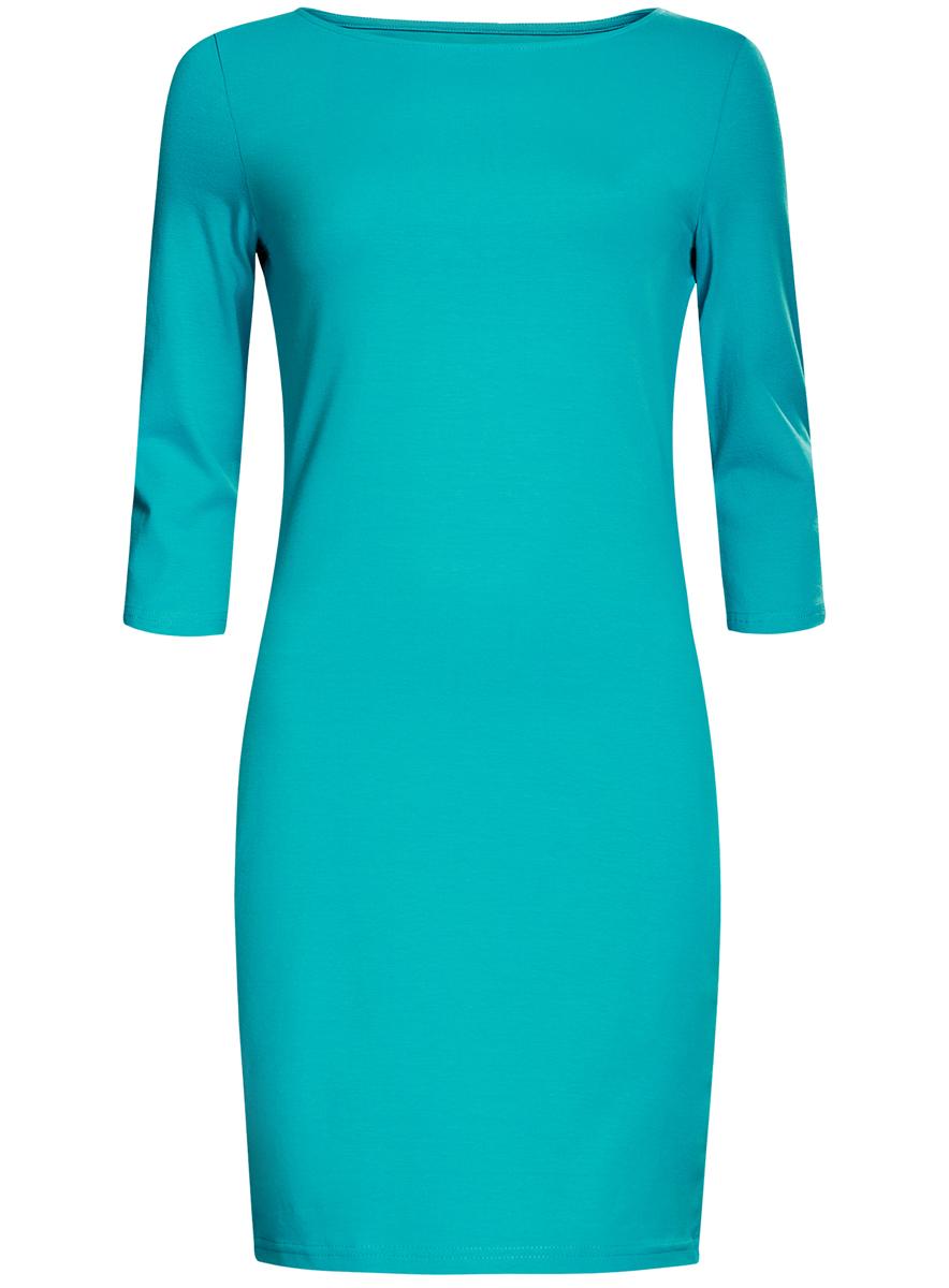 Платье oodji Ultra, цвет: бирюзовый. 14001071-2B/46148/7300N. Размер XXS (40)14001071-2B/46148/7300NСтильное платье oodji, выполненное из хлопка с добавлением эластана, отлично дополнит ваш гардероб. Модель длины мини с круглым вырезом горловины и рукавами 3/4.