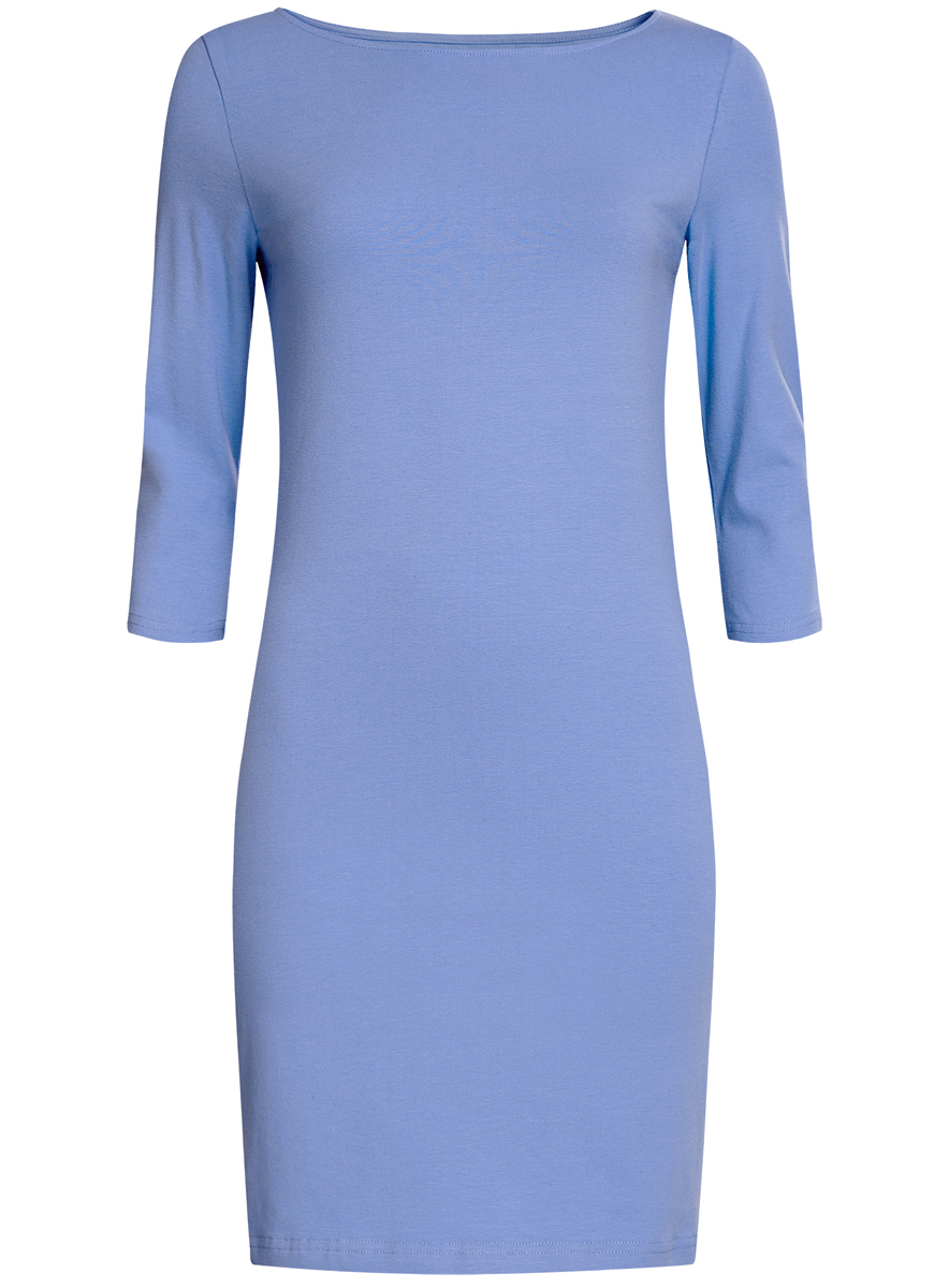 Платье oodji Ultra, цвет: голубой. 14001071-2B/46148/7501N. Размер XXS (40)