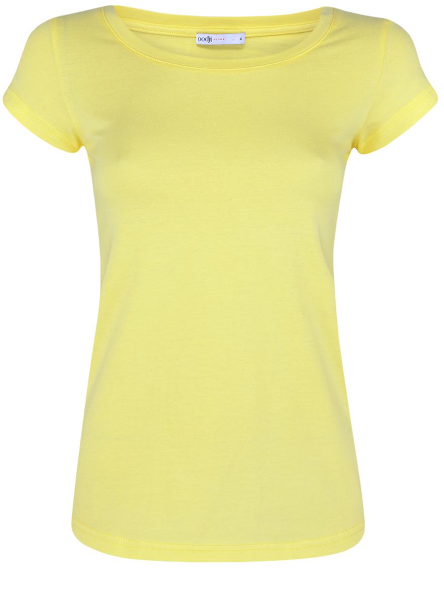 Футболка женская oodji Ultra, цвет: желто-зеленый. 14701008B/46154/6700N. Размер XXS (40) болеро oodji ultra цвет красный 14607001 1 24438 4500n размер xxs 40