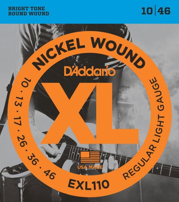 DAddario EXL110 струны для электрической гитарыDNT-13027Daddario EXL110 - это комплект-бестселлер DAddario, обеспечивающий идеальное сочетание звучания, гибкости и длительного срока эксплуатации. Эти струны являются стандартными для большинства электрических гитар.Струны XL с никелевой обмоткой - самые популярные струны DAddario для электрогитары - выполняются в прецизионной обмотке из стали с никелевым покрытием, нанесенной на тщательно изготовленный сердечник шестигранного профиля из стали с высоким содержанием углерода.В результате получаются струны с долгим, отчетливо ярким звучанием и превосходной интонацией, идеально подходящие для самого широкого спектра гитар и музыкальных стилей.Первые струны: высокоуглеродистая стальБасовые струны: сталь (никелевое покрытие) - круглая обмоткаШестигранный корд Натяжение: Regular Light