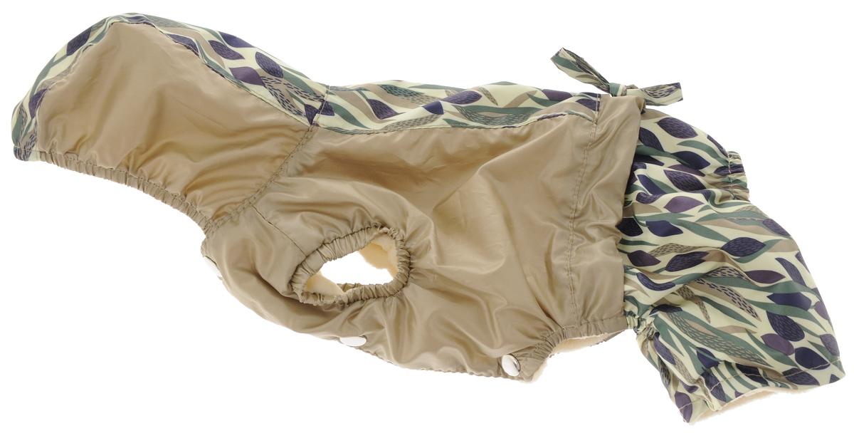 Комбинезон для собак Dogmoda Вояж, унисекс, цвет: светло-зеленый, бежевый. Размер 1 (S)DM-150304-1_зелено-бежевыйКомбинезон для собак Dogmoda Вояж отлично подойдет для прогулок в прохладное время года. Комбинезон изготовлен из полиэстера, защищающего от ветра и осадков, а подкладка из флиса отлично сохраняет тепло и обеспечивает воздухообмен. Комбинезон с капюшоном застегивается на кнопки, благодаря чему его легко надевать и снимать. Капюшон имеет по краю внутреннюю резинку и не отстегивается. Изделие имеет длинные брючины и специальные прорези для передних лапок, которые оснащены внутренними резинками, мягко обхватывающими лапки, не позволяя просачиваться холодному воздуху. На пояснице комбинезон затягивается на шнурок-кулиску.Благодаря такому комбинезону простуда не грозит вашему питомцу.Одежда для собак: нужна ли она и как её выбрать. Статья OZON Гид