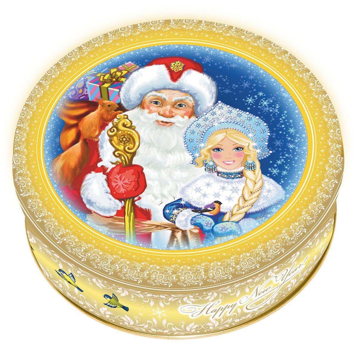 Сладкая Сказка Печенье Дед Мороз и Снегурочка, 400 гMC-4-19Яркая подарочная банка с печеньем Дед Мороз и Снегурочка станет прекрасным подарком детям, близким, друзьям и коллегам на Новый год или Рождество.В каждой банке – 400 грамм сдобного печенья. Оно не только вкусное, но и полезное.Натуральные ингредиенты, сливочное масло, кукурузный крахмал и пшеничная мука, входящие в состав продукта, содержат целый ряд витаминов, минералов и аминокислот.На крышке изображены главные герои новогодних праздников — Дед Мороз и Снегурочка. Такая банка украсит любой праздничный стол!