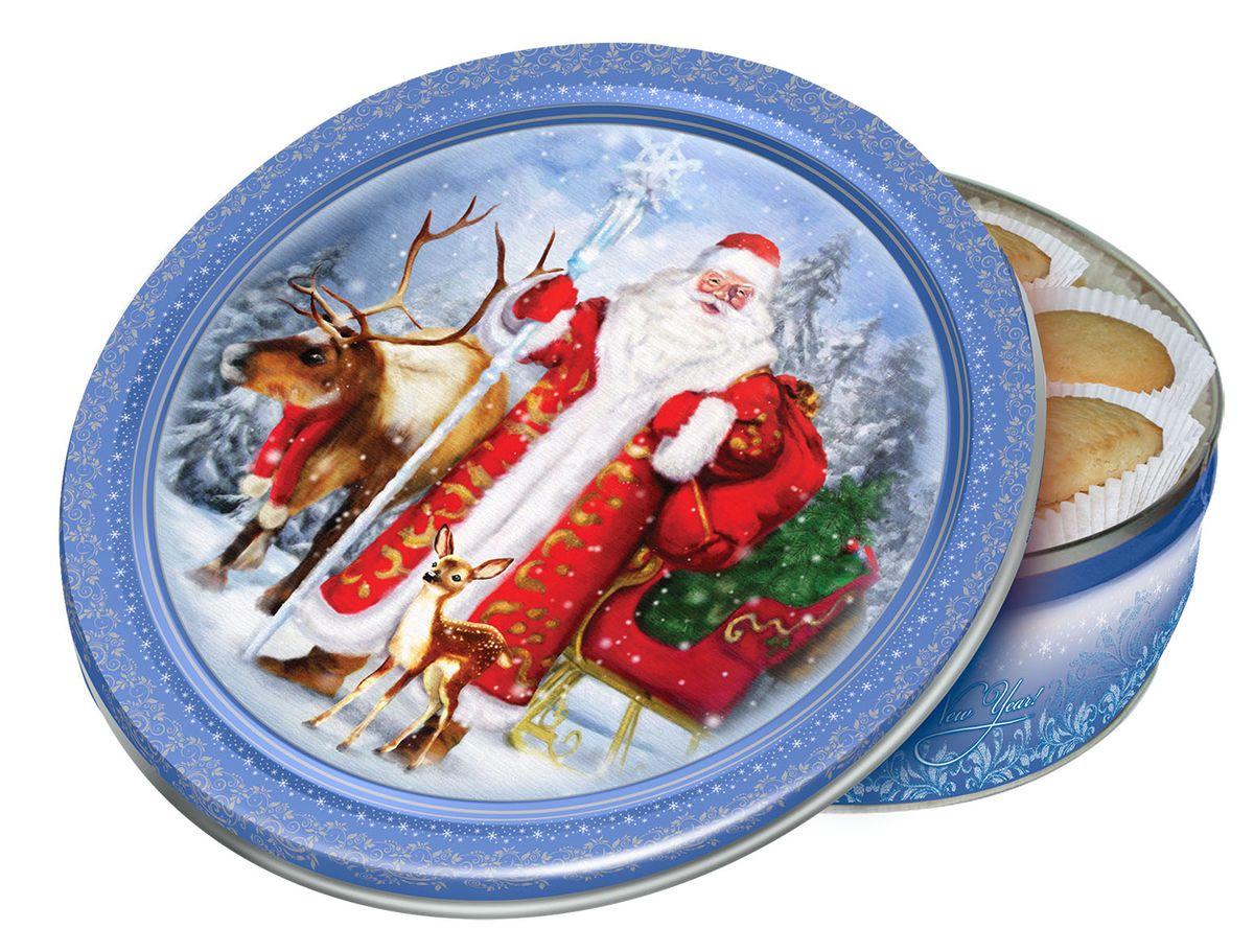 Сладкая Сказка Печенье Лесная сказка, 400 гMC-4-18Лесная сказка — сдобное печенье в подарочной жестяной банке, на которой изображены Дед Мороз с наряженным новогодним оленем и маленьким олененком.Основная цветовая гамма — голубой и белый — от банки так и веет зимним морозцем и свежестью.Сдобное печенье производится на российской фабрике МАК-Иваново с использованием натуральным ингредиентов.Такой подарок надолго запомнится и подарит праздничное настроение.