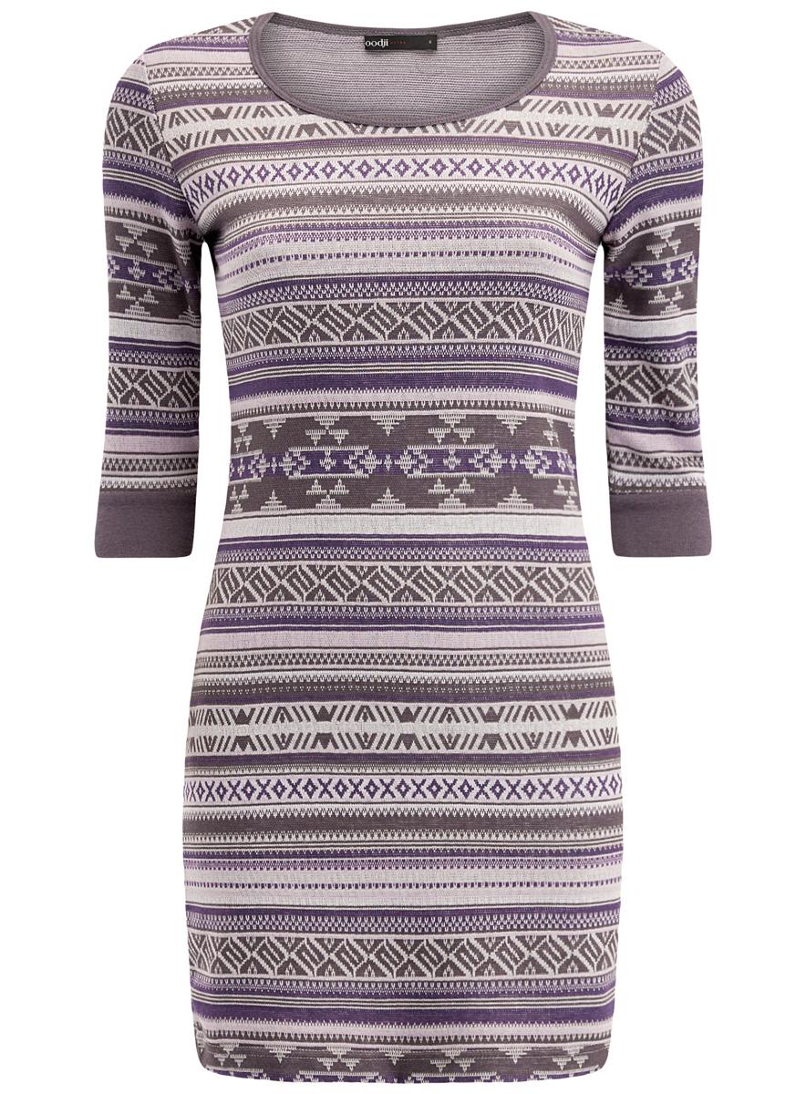 Платье oodji Ultra, цвет: сиреневый, серый. 14001064-5/46025/8023J. Размер XXS (40)14001064-5/46025/8023JЖенское облегающее трикотажное платье oodji Ultra имеет круглый вырез, рукава 1/2 и оформлено принтом.