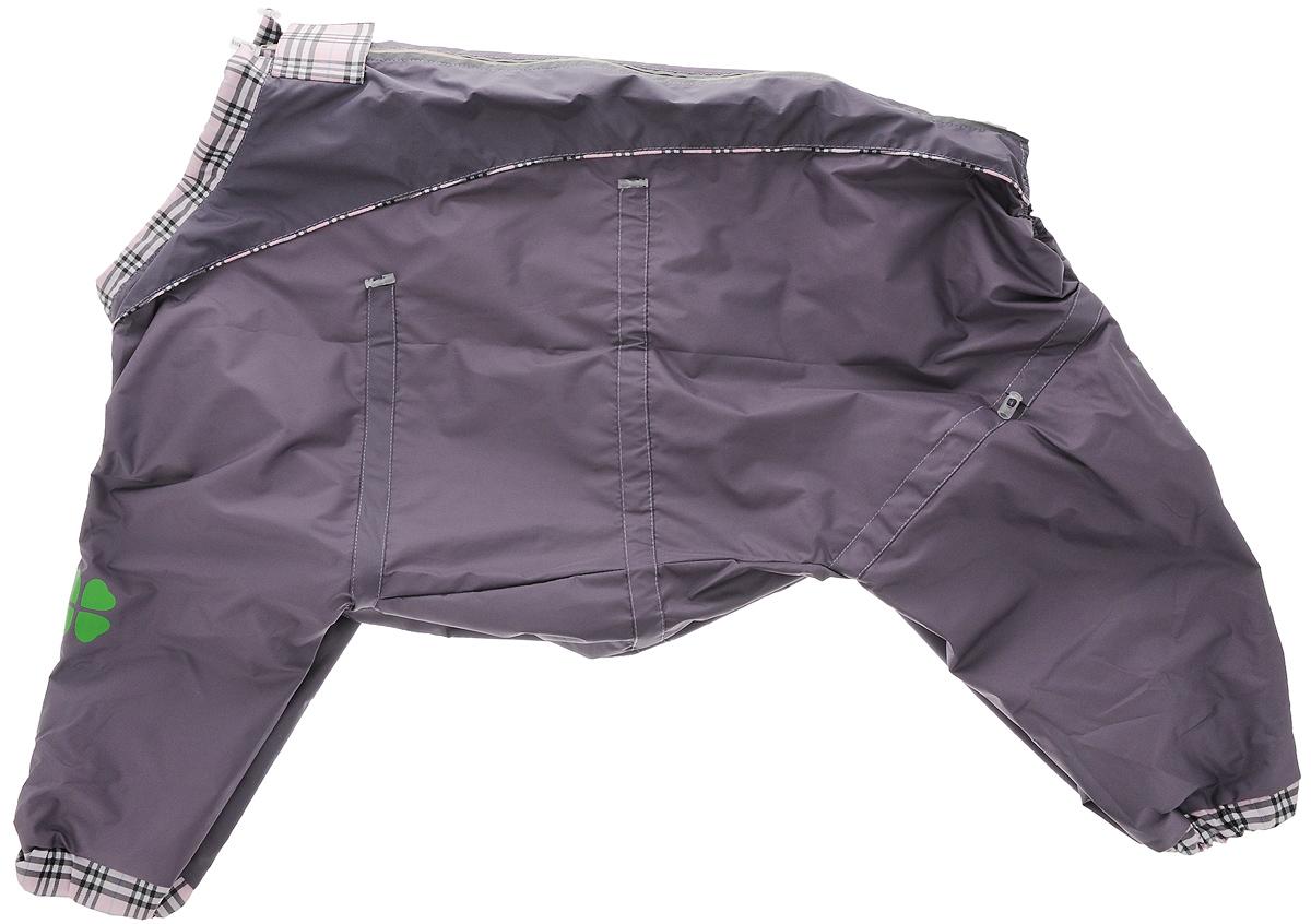 Комбинезон для собак Dogmoda Doggs, для девочки, цвет: серый, фиолетовый. Размер XXLDM-140523_серо-фиолетовыйКомбинезон для собак Dogmoda Doggs отлично подойдет для прогулок в прохладную погоду.Комбинезон изготовлен из полиэстера, защищающего от ветра и осадков, а на подкладке используется вискоза, которая обеспечивает отличный воздухообмен. Комбинезон застегивается на молнию и липучку, благодаря чему его легко надевать и снимать. Молния снабжена светоотражающими элементами. Низ рукавов и брючин оснащен внутренними резинками, которые мягко обхватывают лапки, не позволяя просачиваться холодному воздуху. На вороте, пояснице и лапках комбинезон затягивается на шнурок-кулиску с затяжкой. Модель снабжена непромокаемым карманом для размещения записки с информацией о вашем питомце, на случай если он потеряется.Благодаря такому комбинезону простуда не грозит вашему питомцу.