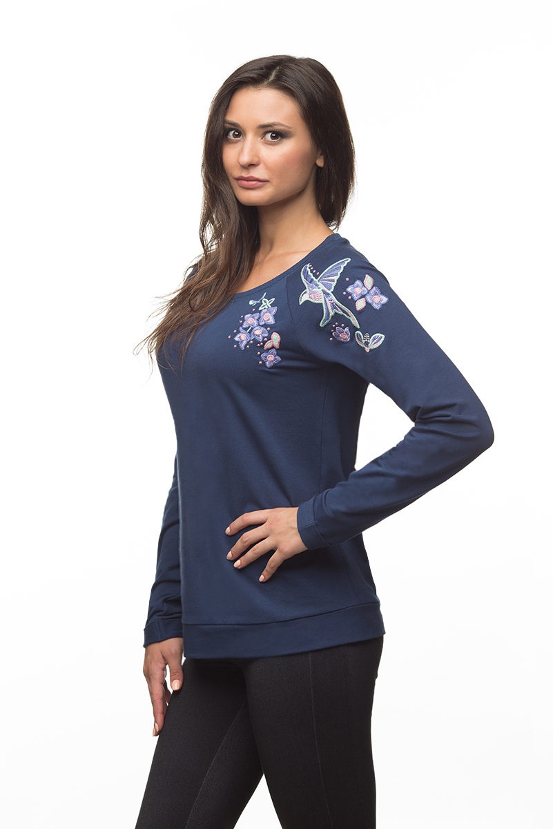 Купить Свитшот женский BeGood, цвет: темно-синий. AW16-BGUZ-710. Размер XXXXL (56)