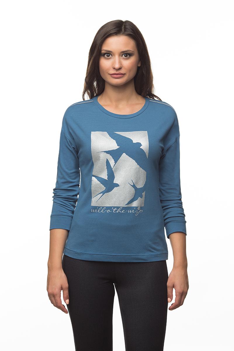 Купить Лонгслив женский BeGood, цвет: синий. AW16-BGUZ-718. Размер XXXXL (56)