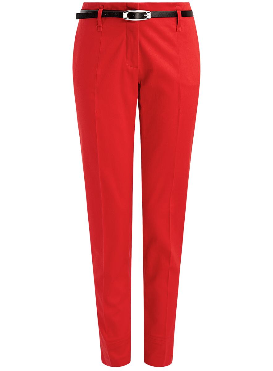 Купить Брюки женские oodji Collection, цвет: красный. 21703094-3/33482/4500N. Размер 38 (44-170)