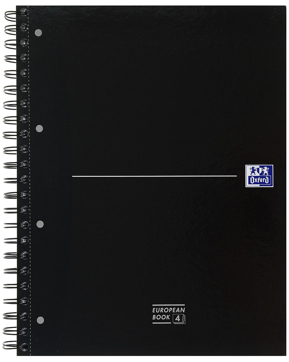 Oxford Тетрадь Officе Europen Book 120 листов в клетку100104738, 817869Красивая и практичная тетрадь Oxford Officе Europen Book отлично подойдет для ведения и хранения заметок. Тетрадь формата А4+ состоит из 120 белых листов с четкой яркой линовкой в клетку.Обложка тетради выполнена из жесткого ламинированного картона черного цвета. Все ваши записи и заметки всегда будут в безопасности, так как листы крепятся на двойную металлическую спираль.В тетради предусмотрена, снабженная карманом, страница из плотного картона для хранения листов-записок.Тетрадь состоит из 4 разделов, каждый из которых имеет цветовую кодировку по обрезу и по корешку согласно цвету пластикового разделителя (красный, синий, зеленый).
