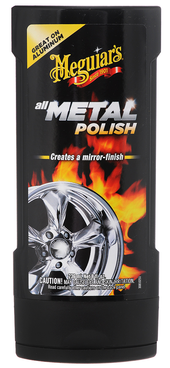 Полироль-очиститель для металла Meguiars, многофункциональный, 236 млG 15308Полироль-очиститель Meguiars эффективно очищает от загрязнений и удаляет окислы, ржавчину, мелкие царапины. Придает обработанной поверхности ослепительный зеркальный блеск. Идеально подходит для полированных литых дисков из алюминиевых и магниевых сплавов. Полирует бронзу, алюминий, хром, нержавеющую сталь, латунь и медь. Не содержит грубых абразивов и агрессивных растворителей. Товар сертифицирован.