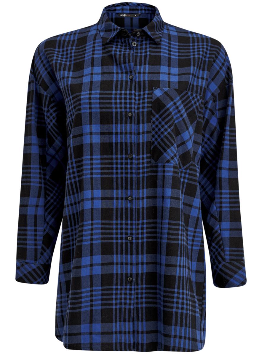 Рубашка женская oodji, цвет: черный, синий. 11400432-1/36218/2975C. Размер 40 (46-170)11400432-1/36218/2975CРубашка oodji полностью выполнена из хлопка и оформлена принтом в клетку. Модель с отложным воротником и длинными рукавами застегивается с помощью пуговиц. На лицевой стороне расположен накладной карман. Рукава дополнены манжетами, застегивающимися на пуговицы.