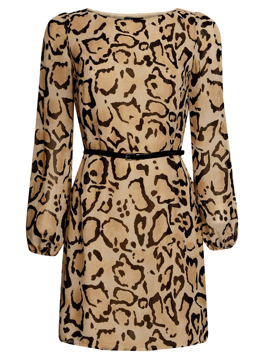 Платье oodji Ultra, цвет: бежевый, черный. 11900150-5/13632/3329A. Размер 36 (42-170)11900150-5/13632/3329AСтильное платье oodji Ultra выполнено из 100% полиэстера. Модель с круглым вырезом горловины и длинными рукавами оформлена интересным принтом. В комплект входит ремень из искусственной кожи с металлической пряжкой.