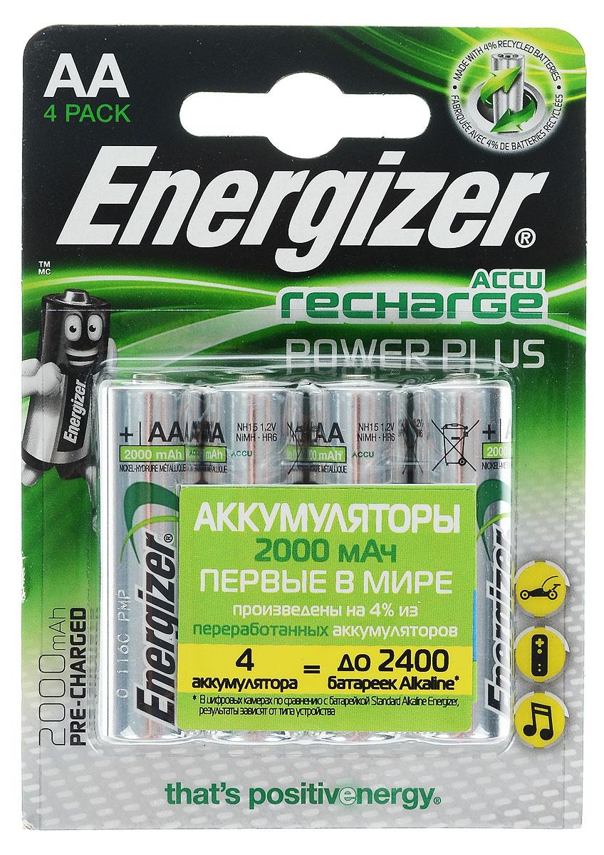 Аккумулятор Energizer Rech Power Plus, тип AA, 2000 mAh, 1,2V, 4 штE300324000/638622/635178/632976Аккумуляторы Energizer Rech Power Plus – это комплект универсальных аккумуляторов для постоянной работы во всех часто используемых устройствах. Особенности аккумуляторов Energizer Rech Power Plus: - Аккумуляторы предварительно заряжены. - 4 аккумулятора типоразмера АА заменяют до 2400 обычных щелочных батареек. - Длительный срок службы – до 225 цифровых фотографий с одной зарядки при использовании аккумуляторов типоразмера AA. - Аккумуляторы выдерживают 700 циклов заряда, основано на стандартах МЭК. - Работают при температуре от 0 °С до +50 °С.Размер аккумулятора: 5 х 1,5 см.