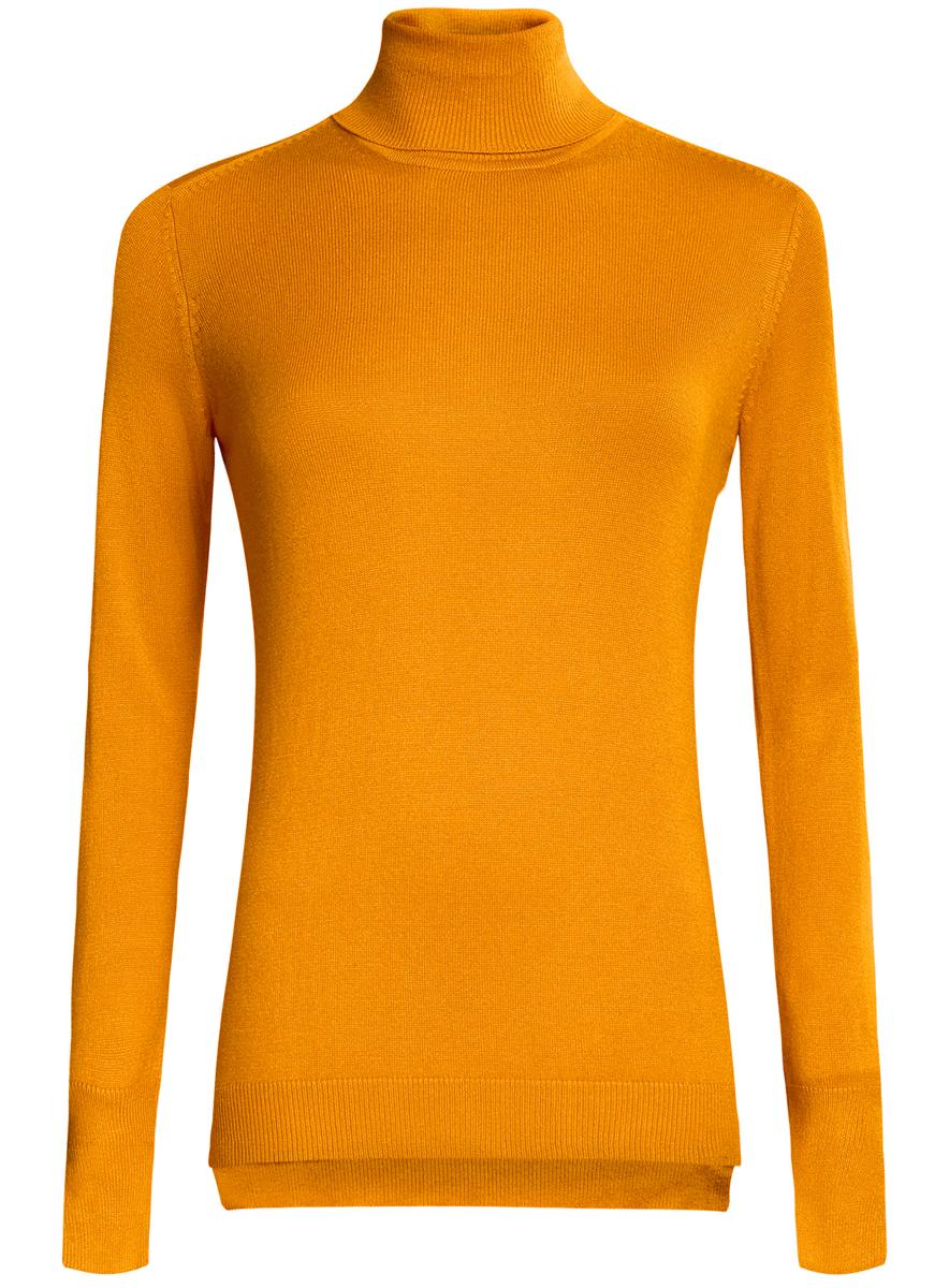 Водолазка женская oodji Collection, цвет: оранжевый. 74412572B/24525/5200N. Размер XL (50) водолазка pettli collection pettli collection pe034ewvwc32