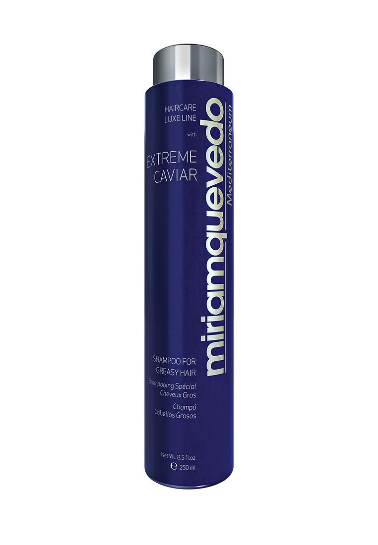 Miriam Quevedo Шампунь для жирных волос с экстрактом черной икры (Extreme Caviar Shampoo for Greasy Hair) 250 млMQ332Созданный непосредственно для ухода за жирными волосами шампунь с эффектом кондиционера нейтрализует жирный блеск и оказывает антирецидивное действие по отношению к симптомам жирности. В состав шампуня входит экстракт черной икры, который является элитным, редко встречающимся и ценным компонентом в сфере изготовления косметики. Входящие в состав восстанавливающие и кондиционирующие ингредиенты обеспечат естественную мягкость, великолепный блеск.