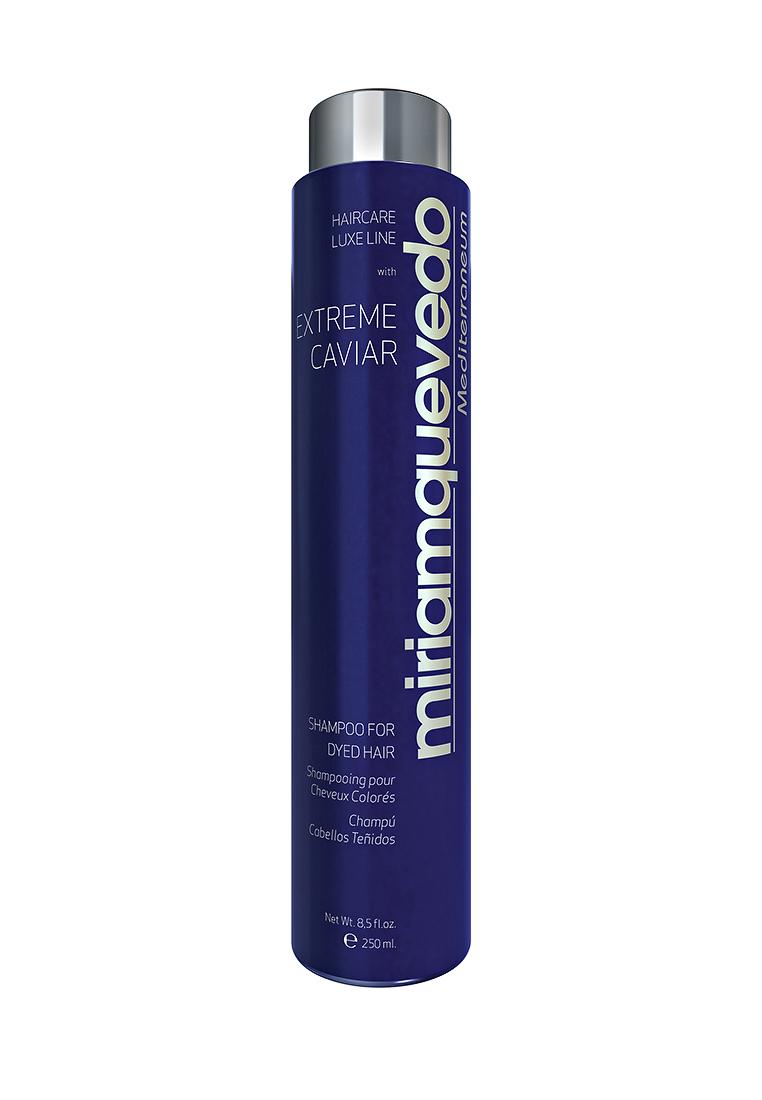 Miriam Quevedo Шампунь для окрашенных волос с экстрактом черной икры (Extreme Caviar Shampoo for Dyed Hair) 250 млMQ335Мягкий шампунь, созданный специально для окрашенных волос, обладает формулой защиты цвета от вымывания, а также обеспечит волосам усиленный уход и защиту. В состав шампуня входит экстракт черной икры, который является элитным, редко встречающимся и ценным компонентом в сфере изготовления косметики. Он подарит вашим волосам максимум блеска, защитит от вредного действия ультрафиолетовых лучей и сделает волосы мягкими на ощупь.