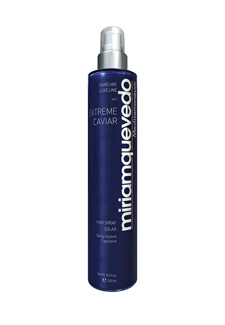 Miriam Quevedo Солнцезащитный спрей для волос с экстрактом черной икры (Extreme Caviar Hair Spray Solar) 250 млMQ342Спрей содержит УФ- фильтры для продолжительной защиты от агрессивного воздействия природных факторов и экстракт черной икры, насыщенный микроэлементами и витаминами, способствующий регенерации структуры волоса.