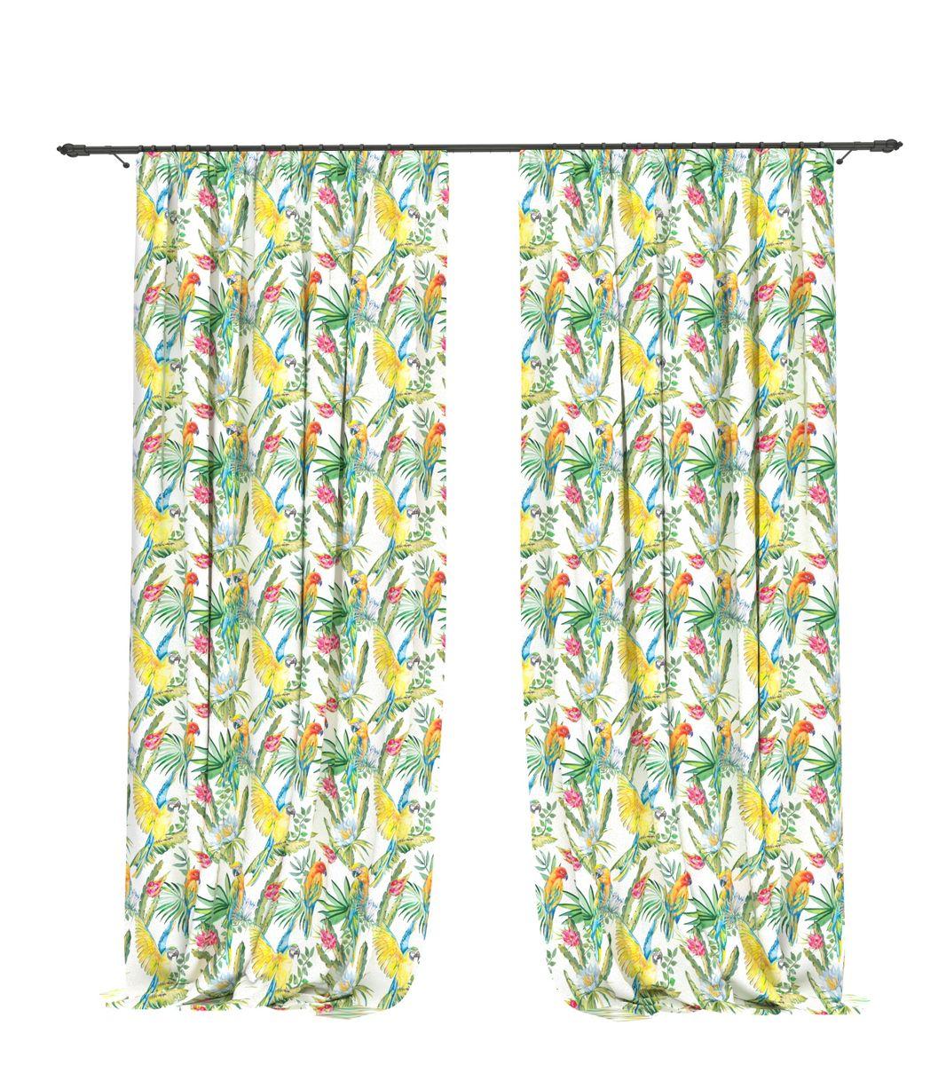 Комплект фотоштор Bellino Home Попугай в кактусе, высота 260 см. 05526-ФШ-ГБ-00105526-ФШ-ГБ-001Комплект фотоштор BELLINO HOME, коллекция Тропики. Рожденный вдоль экватора тропический стиль смешивает множество культур и традиций в единое целое. Эта коллекция подобно котлу, в котором варятся туземные материалы, элегантная простота, экзотические мотивы и море солнечного света. Будто бы вечные каникулы: здесь замедляется время и замирает суета мегаполиса. Богатое разнообразие флоры и фауны способно преобразить атмосферу любого интерьера. Крепление на карниз при помощи шторной ленты на крючки.В комплекте: Портьера: 2 шт. Размер (ШхВ): 145 см х 260 см. Рекомендации по уходу: стирка при 30 градусах гладить при температуре до 150 градусов Изображение на мониторе может немного отличаться от реального.
