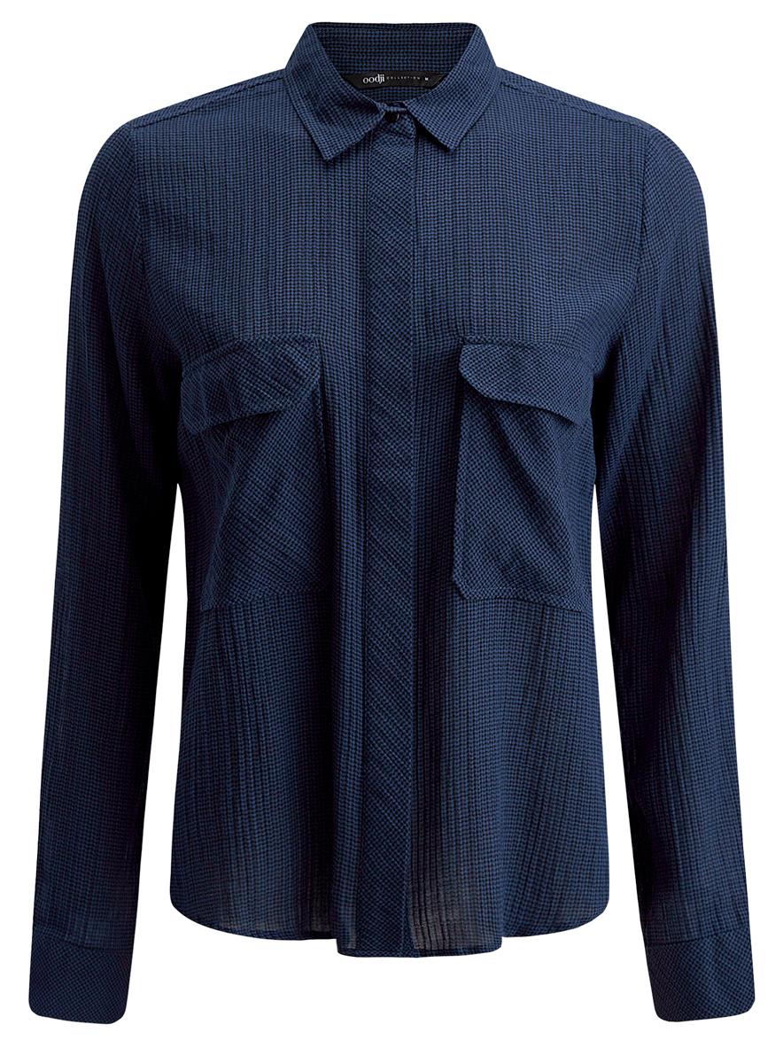 Рубашка женская oodji Collection, цвет: синий, черный. 21441095/43671/7529G. Размер L (48)21441095/43671/7529GСтильная женская рубашка oodji Collection выполнена из хлопка с добавлением эластана.Модель с отложным воротником и длинными рукавами застегивается на скрытые пуговицы по всей длине. Манжеты рукавов оснащены застежками-кнопками. Длина рукава регулируется при помощи хлястика с застежкой пуговицей. Модель оформлена интересным принтом. На груди расположены два накладных кармана с клапанами.